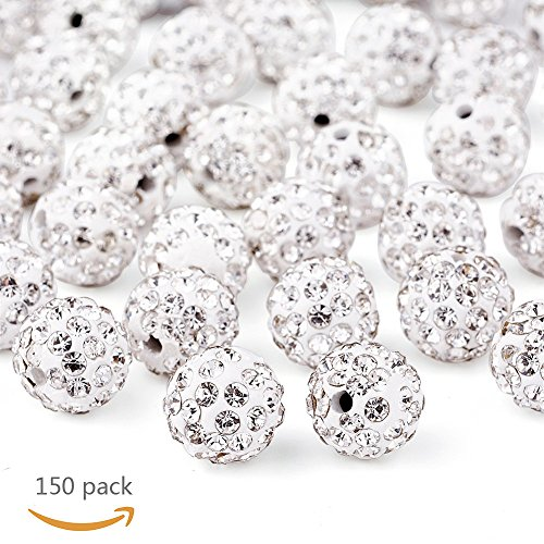 150pcs 10mm Pave Disco Ball Clay Beads, Shamballa Beads for Jewelry Making - Balls Disco Wholesale