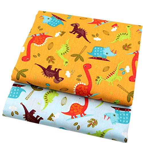 2Pcs/Lot Cartoon Dinosaur Cotton Fabric For Patchwork Sewing Telas For Baby Boy Toy Diy Infant Shoes Cushions Pillowcase Tissu 40Cmx50Cm -