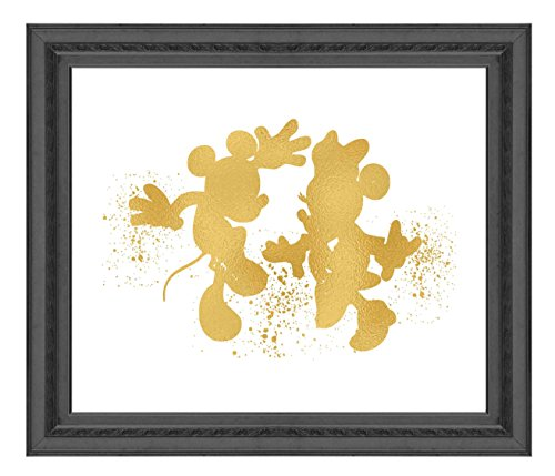 Disney Minnie Mouse Pictures (Inspired by Mickey and Minnie Mouse Love and Friendship - Poster Print Photo Quality - Made in USA - Disney Inspired - Home Art Print -Frame not included (8x10, Gold))