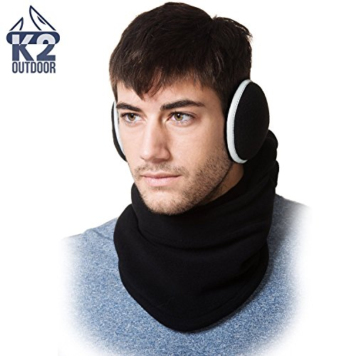(K2 Outdoor Tactical Heavyweight Balaclava and Earmuff Set - Versatile Winter Fleece Protection Perfect for Skiing, Snowboarding, and Motorcycle Riding Black)