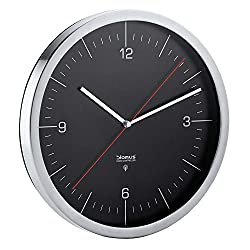 Blomus Crono Radio Controlled Wall Clock, with Dial, Stainless Steel Matt, Black, Ø 30 cm, 65437