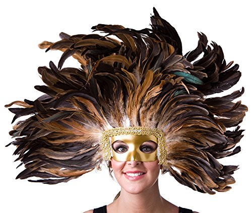 Zucker Feather Large Carnival Costume Feather Headdress - Natural Halloween Mask Cosplay Party Hair Accessory, -