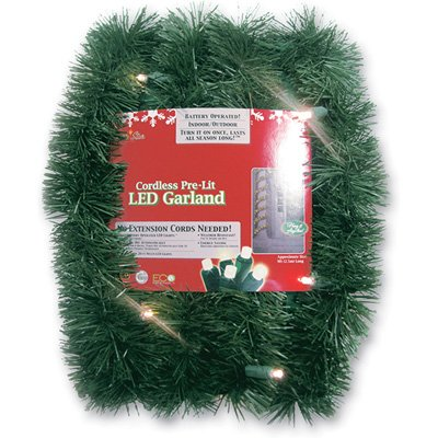 Brite Star Battery Operated LED Lighted Garland, 18-Feet, Warm White (Ft Lighted Garland 18)