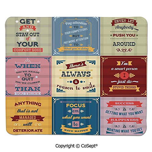 Gaming Mouse Pad,Collection of Motivational Quotes Success Positive Attitude Themed Artwork Print,for Computer,Laptop,Home,Office & Travel(15.74