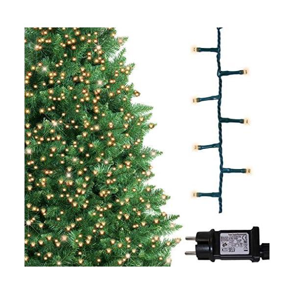 ANSIO Luci natalizie per interni e esterno 1000 LED albero luci Bianco Caldo, 8 modalità con memoria e funzione timer, alimentate, trasformatore incluso 25m Lunghezza illuminata- CAVO VERDE 3 spesavip
