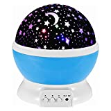 KOBWA LED Baby Night Lights Projector Stars Lighting Lamp For Children Kids Romantic Projector, Rotation Night Projection Lamp Pink Rotating 3 Modes