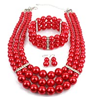 Multi Layer Pearl Strand Jewelry Set