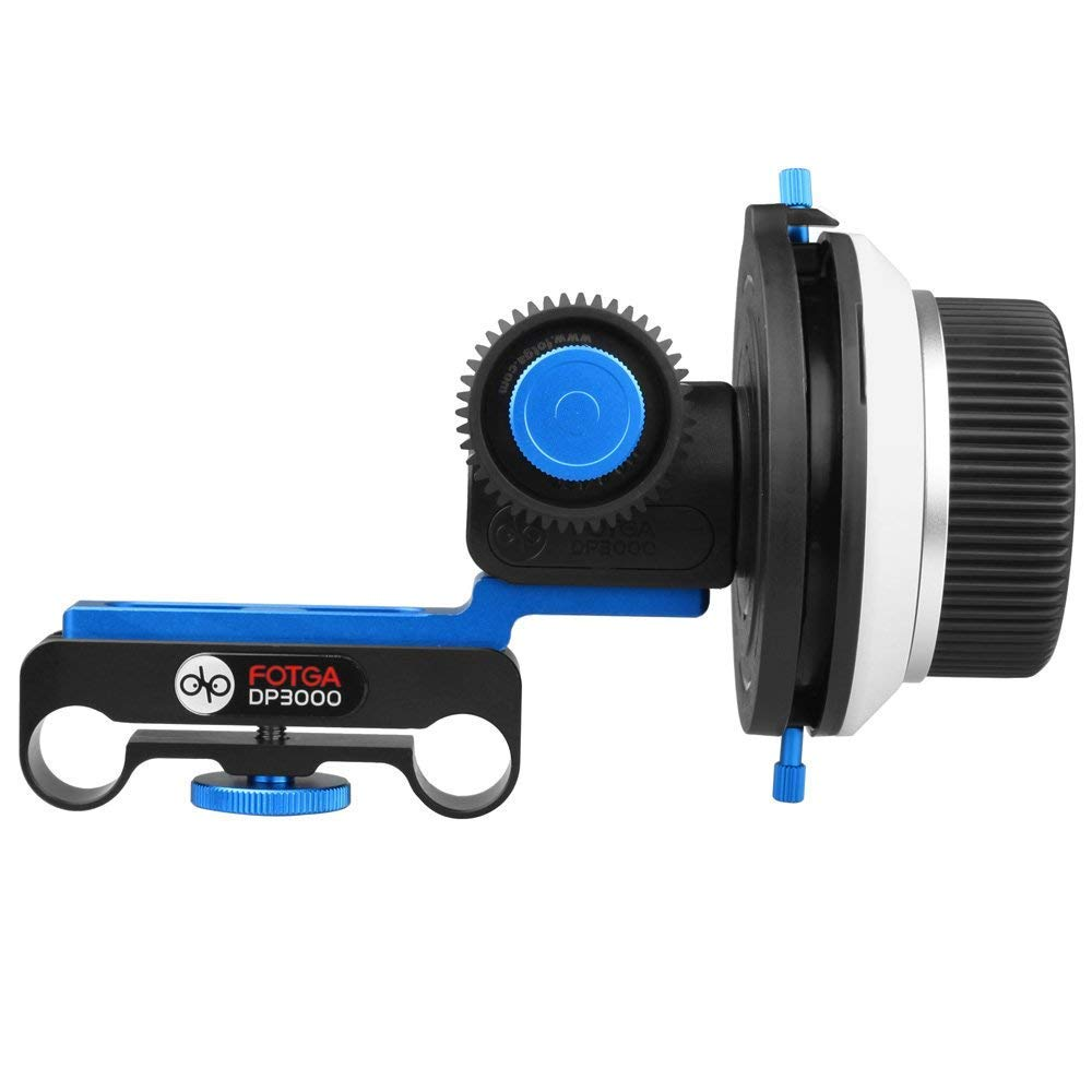 Foto4easy DP3000 DSLR Follow Focus A/B Hard Stops + Speed Crank Handle + Gears for 15mm Rod 5D II III 7D GH2 60D Support All DSLR Camera (Fits 15mm Rail Rod)