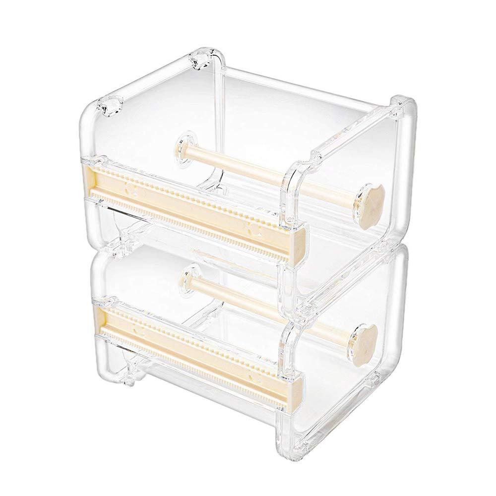 Molshine 2 Pack Transparent Visible Desktop Multi Washi Masking Tape Dispenser,Tape Cutter,Roll Tape Holder (Not Include Masking Tape) (Beige)
