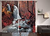 Ambesonne Waterfall Decor Collection, Waterfall in Autumn and Forest Silver Stream Fall Nature in Crimea Picture, Window Treatments, Living Room Bedroom Curtain 2 Panels Set, 108 X 84 Inches, Paprika For Sale