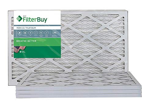 (FilterBuy 14x20x1 MERV 13 Pleated AC Furnace Air Filter, (Pack of 4 Filters), 14x20x1 - Platinum)