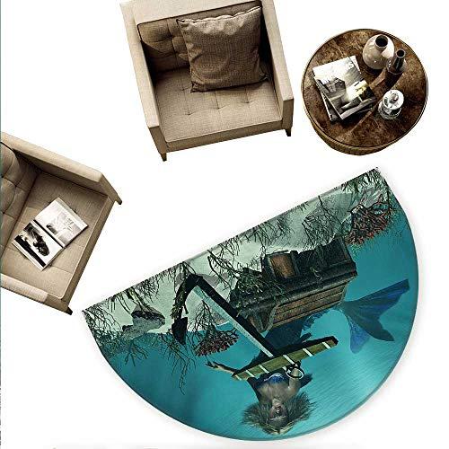 - Mermaid Half Round Door mats Mermaid in Ocean Sea Discovering Pirates Treasure Chest Mythical Art Print Bathroom Mat H 70.8