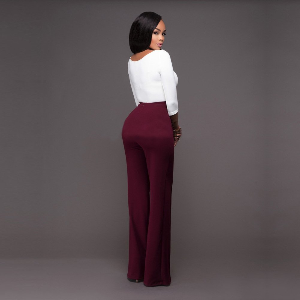 Cresay Womens High Waist Wide Leg Long Palazzo Bell Bottom Pants