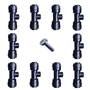 "1/4"" Slip-Lok Misting Nozzle Tees W/ Plug for Patio Cooling System 10/24 UNC"