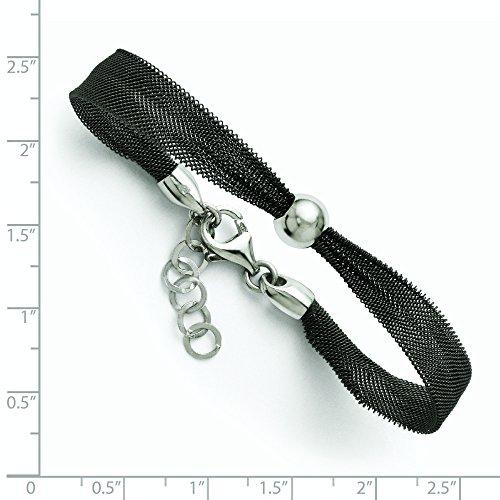 """Argent 925/1000 plaqué ruthénium-po Ext. Bracelet en maille 1 """"- 7 cm-JewelryWeb"""
