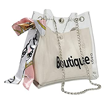 c7315e03c487 NXDA Women Transparent Drawstring Mini Bags Messenger Bag Casual Shopping  Bag Metal Chain with Silk Decoration