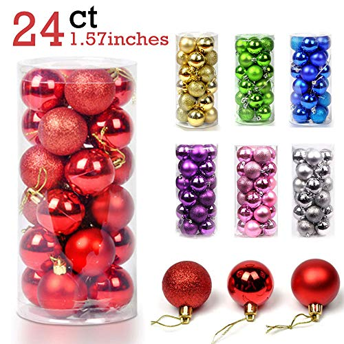 24PCS Christmas Ball Ornaments Bulk Baubles Set Red Shatterproof Hanging Decor Xmas Tree for Holiday Wedding Party Decoration, 1.57'' (Red) (Decor Xmas)