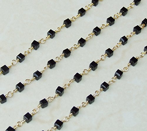 Black Onyx Faceted Cube Bead Rosary Chain - Gold Plated Wire Wrapped Rosary Chain. 5mm x 5mm Bead - Sold by the Foot