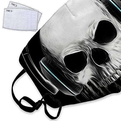 Black Halloween Graphics Skull Evil Concert Dust Mask Reusable Washable Breathable Anti Pollution Mask with PM 2.5 Activated Carbon Filter Insert Flu Mask Face Safety Masks For Teens Kids]()
