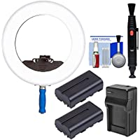 LEDGO LG-R320C Bi-Color Shoot-Through Flood LED Ring Light with 2 Batteries & Charger + Cleaning Kit