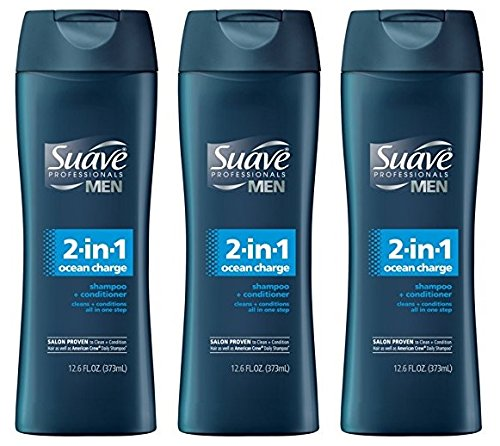 Suave Professionals Mens, 2-in-1 Shampoo & Conditioner, Ocean Charge, 12.6 Oz (Pack of 3)