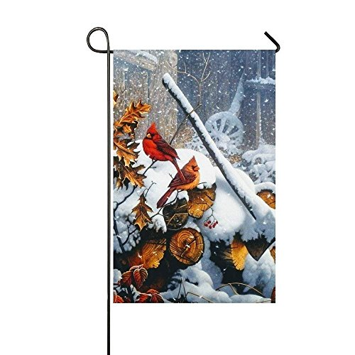 Snowy Day Ice Wood Stand Cardinals Garden Flag - Double Side