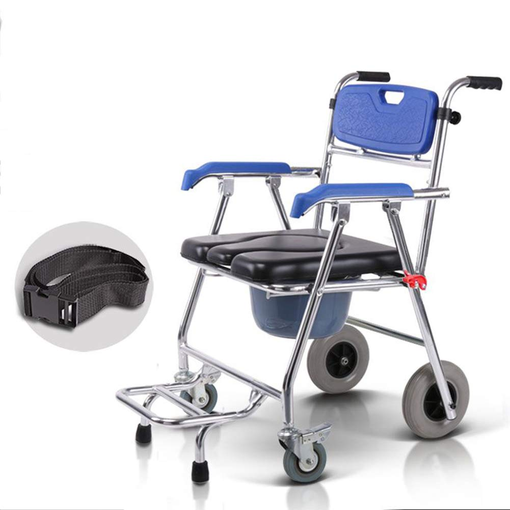 Shower Chair with Wheels Folding Commode Chair and Padded Toilet Seat Shower Transport Chair Shower Wheelchair with Brakes by LUCKYYAN