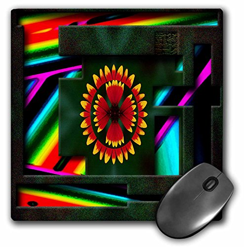 3dRose Jos Fauxtographee Abstract - An Abstract flower of Yellow and Orange on a Backdrop of Vivid Blue, Purple, Yellow, Green and Mint - MousePad (mp_50503_1)