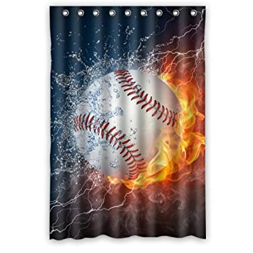 48Wx72H Inch Waterproof Bathroom Baseball Shower Curtain