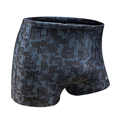 KGKE Swim Boxer Briefs Short Swim Jammer by Camo Racer Mens Square Leg Swimsuit (Grey Camo Strip, Small) by KGKE