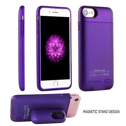 Battery Case for iPhone 8/7/6s/6 - i.Valux Slim Protective Rechargeable Extended External Charger Case 3000mAh Power Bank Backup Battery Charging Case Shockproof Bumper with Magnetic Stand (Purple)
