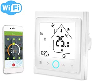 Smart Thermostat,2/4 Pipe WiFi Smart Central Air Conditioning Thermostat Temperature Controller LCD Touch Screen(2 Pipe)