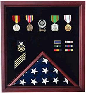 product image for Military Flag and Medal Display Case - Shadow Box Cherry Finish