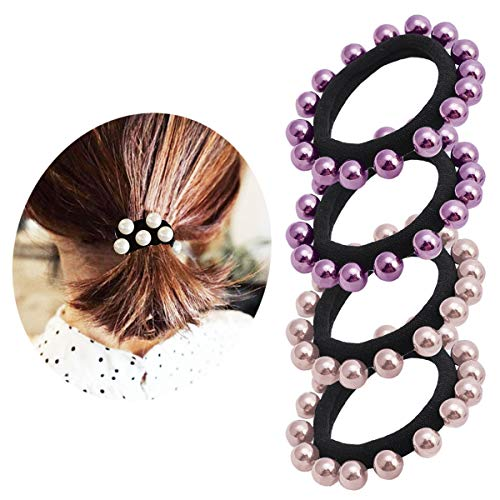 Pearl Elastic Hair Bands Cotton Stretch Hair Ties Ponytail Hair Ropes for Women Girls 4cpcs #3 (Elastic Pearl Ring)
