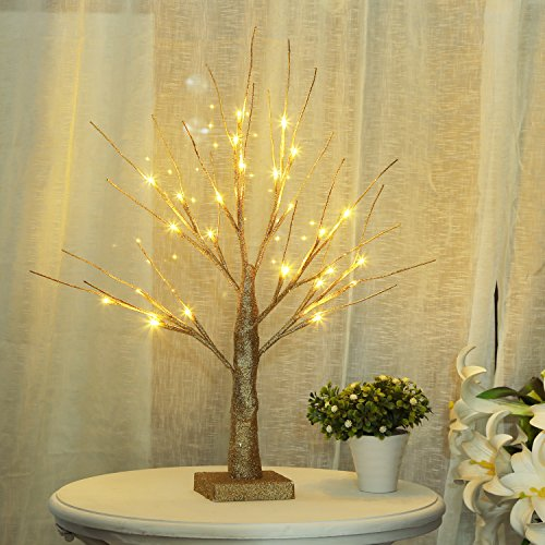 (Bolylight LED Table Lamp Birch Money Tree Gift Holder Night Light Centerpieces Great Decoration for Home/Christmas/Party/Festival/Wedding, 1.5ft Gold)