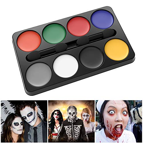 Unomor Halloween Makeup Face Painting Kit for Zombie Vampire Witch Makeup (Halloween Makeup 8 Colors)