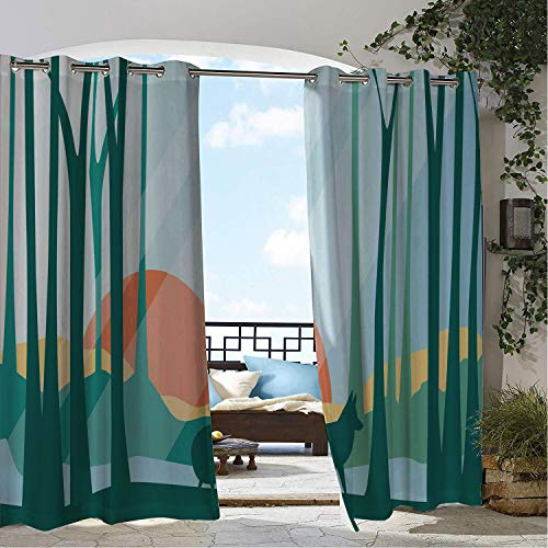 Linhomedecor Balcony Waterproof Curtains Woodland Repetitive Forest Ba Fox and Elk and Floral Details Dark Teal Multicolor pergola Grommet Panel Curtains 120 by 96 ()