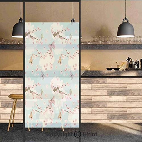 3D Decorative Privacy Window Films,Spring Flower with Birds and Butterflies Freshening Sublime Sky Scenery Charm Print,No-Glue Self Static Cling Glass film for Home Bedroom Bathroom Kitchen Office 24x
