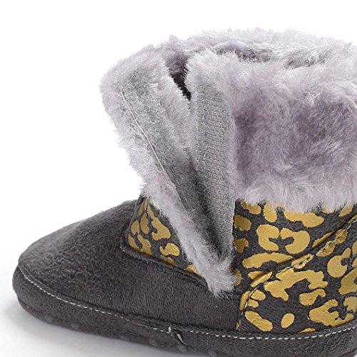 ❆Huhu833 Kinder Mode Baby Stiefel Soft Sole, Warm Schnee Weiche Sohle Schneeschuhe Krippe Kleinkind Stiefel (0-18 Month) Grau