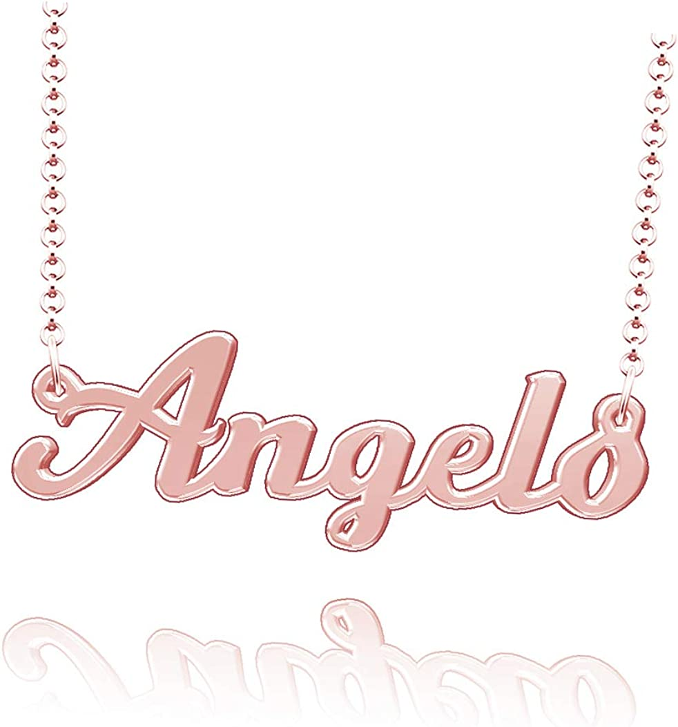 LoEnMe Jewelry Personalized Angelo Name Necklace Sterling Silver Plated Custom Made of Last Name Gift for Family