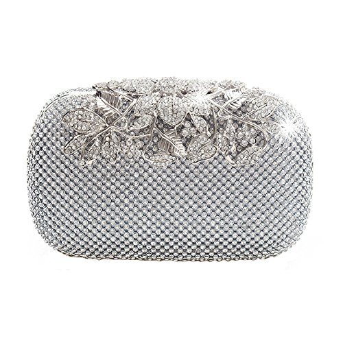 Party Diamante Evening Silver Purse Womens Ya Clasp Prom Bag Unique Jian Diamond Crystal Bridal Clutch Na Fw7qtR