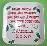 Personalized Christmas Cookie Plate for Santa on Christmas Eve in White