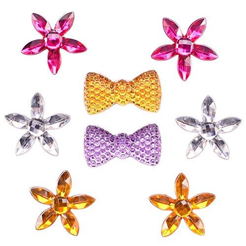 (Shallylu 500Pcs Resin Flowers Flatback, DIY Craft Cabochons Rhinestones Embellishments, Flowers Beads Gemstone for Hairpin, Headwear, Phone, Scrapbooking, Jewelry Making (Bowknot Flower))