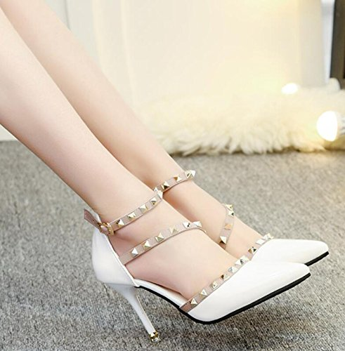 Shoes Sharp Single Thirty White Shoes Naked five Buckle With Baotou High And Rivet Heel Thin GTVERNH Shallow Head Word BYHT5vqq