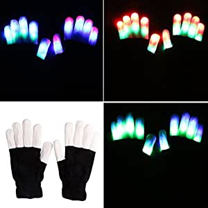 CIKIshield Flashing Finger Lighting Gloves LED Colorful Rave Gloves with 6 Modes for Clubbing Light Show Christmas Gift