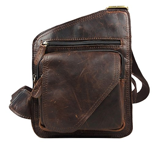 Genda 2Archer piel genuine Militar Cross-Body Pecho Paquete Bolso honda Bolsas escuela (marrón) marrón
