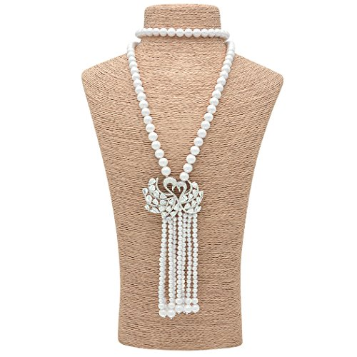 Sarah Coventry Chain (Wild Wind (TM) Valentine's Luxy Diamond Pearl Strands Macrame Tassel Pendant Necklaces (Crystal Swans))