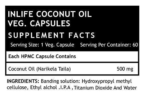 Inlife Coconut Oil Supplement 500 mg - 60 Vegetarian Capsules