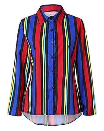 a16aa7bdc673 Sweatwater Women Fashion Stripe Turkey Button Down Casual Long-Sleeve Shirts  3 Small