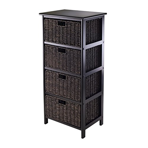 Luxury Home Omaha Brown Wood Storage Rack with 4 Foldable Baskets by Luxury Home